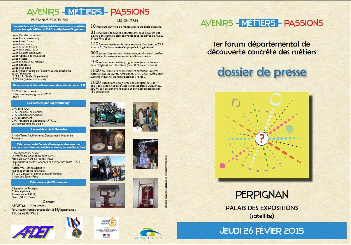 Dossier de presse Forum Avenirs-Métiers-Passions 2015